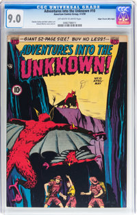 Adventures Into The Unknown #10 Mile High pedigree (ACG, 1950) CGC VF/NM 9.0 Off-white to white pages