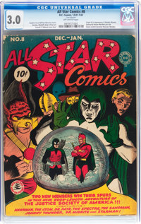 All Star Comics #8 (DC, 1942) CGC GD/VG 3.0 Off-white pages