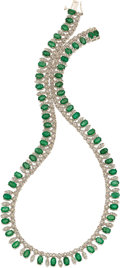 Jewelry, EMERALD, DIAMOND, WHITE GOLD NECKLACE. ...