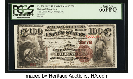 Chicago, IL - $100 1882 Brown Back Fr. 520 The Union NB Ch. # 3278 ...