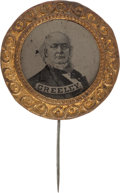 Political:Ferrotypes / Photo Badges (pre-1896), Horace Greeley: An Impressive Large 1872 Ferrotype Campaign Pin....