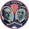 "Political:Pinback Buttons (1896-present), Coolidge & Dawes: A Possibly Unique Variant of thisSought-after 6"" Jugate...."