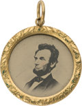 Political:Ferrotypes / Photo Badges (pre-1896), Abraham Lincoln: Pristine 1864 Ferrotype Locket or Charm....