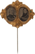 Political:Ferrotypes / Photo Badges (pre-1896), Greeley & Brown: A Choice Ferro Jugate for this Tough 1872Ticket. ...