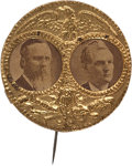 Political:Ferrotypes / Photo Badges (pre-1896), Hayes & Wheeler: A Pristine 1876 Jugate Pin....