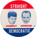 "Political:Pinback Buttons (1896-present), Kennedy & Johnson: An Extremely Rare 4"" Jugate Button. ..."