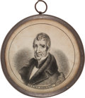 "Political:Ferrotypes / Photo Badges (pre-1896), William Henry Harrison: A Beautiful 1840 Campaign ""Pewter Rim.""..."