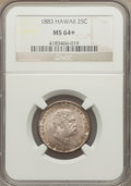 Coins of Hawaii: , 1883 25C Hawaii Quarter MS64+ NGC. NGC Census: (220/289). PCGSPopulation (334/267). Mintage: 500,000. . From The Estate...