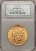 Liberty Double Eagles, 1902 $20 -- Obverse Improperly Cleaned -- NCS. Unc Details. NGC Census: (47/297). PCGS Population (30/395). Mintage: 31,140...