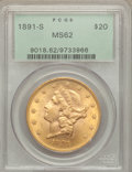 Liberty Double Eagles: , 1891-S $20 MS62 PCGS. PCGS Population (1821/895). NGC Census:(1887/542). Mintage: 1,288,125. Numismedia Wsl. Price for pro...