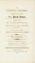 Books:Americana & American History, Enos Hitchcock. A Funeral Sermon, Occasioned by the Death ofMrs. Sarah Bowen, Consort of the Hon. Jabez Bowen, Esq. Who...