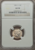 Barber Dimes: , 1901-S 10C AU58 NGC. NGC Census: (10/34). PCGS Population (8/49).Mintage: 593,022. Numismedia Wsl. Price for problem free ...