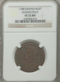 Colonials: , 1788 COPPER Connecticut Copper, Draped Bust Left VF25 NGC. NGC Census: (4/23). PCGS Population (6/35). ...