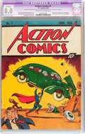 Golden Age (1938-1955):Superhero, Action Comics #1 (DC, 1938) CGC Apparent VF 8.0 Moderate/Extensive(A-4) Cream to off-white pages....