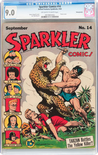 Sparkler Comics #14 Pennsylvania pedigree (United Features Syndicate, 1942) CGC VF/NM 9.0 Off-white to white pages