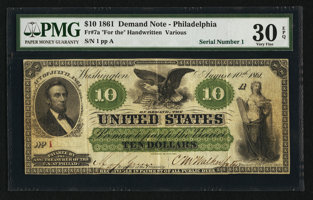 Featured item image of Fr. 7a $10 1861 Demand Note PMG Very Fine 30 EPQ.  ...