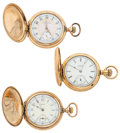 Timepieces:Pocket (post 1900), Two Elgin's & One Waltham Hunter's Case Pocket Watches Runners. ... (Total: 3 Items)