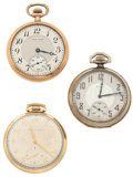 Timepieces:Pocket (post 1900), Two Waltham's & One Elgin Open Face Pocket Watches Runners. ... (Total: 3 Items)