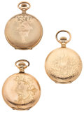 Timepieces:Pocket (post 1900), Hampden & Elgin 7 Illinois Hunter's Case Pocket WatchesRunners. ... (Total: 3 Items)