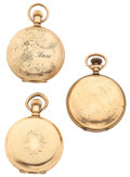Timepieces:Pocket (post 1900), Two Elgin's & One Waltham Hunter's Case Pocket Watches Runners.... (Total: 3 Items)