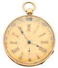 Timepieces:Pocket (pre 1900) , Swiss Fancy Dial Gold Key Wind With Date Sector For PotentialRestoration. ...