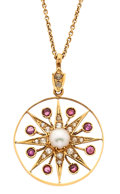 Estate Jewelry:Pendants and Lockets, Cultured Pearl, Ruby, Gold Pendant-Necklace. ...