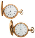 Timepieces:Pocket (post 1900), Elgin & Waltham 15 Jewels Hunter's Case Pocket Watches Runners. ... (Total: 2 Items)