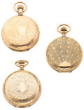 Timepieces:Pocket (post 1900), Two Waltham's & One Elgin Hunter's Cases . ... (Total: 3 Items)