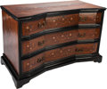 Furniture : Continental, AN ITALIAN MAHOGANY AND EBONIZED WOOD MARQUETRY CHEST OF DRAWERS WITH MOTHER-OF-PEARL INLAY, 18th century and later. 36 x 54...
