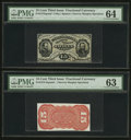 Fractional Currency:Third Issue, Fr. 1274SP/1273SP 15¢ Third Issue Narrow Margin PMG Choice Uncirculated 64/Choice Uncirculated 63.. ... (Total: 2 notes)