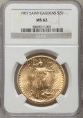 Saint-Gaudens Double Eagles: , 1907 $20 Arabic Numerals MS62 NGC. NGC Census: (3194/5623). PCGSPopulation (2373/10695). Mintage: 361,667. Numismedia Wsl....