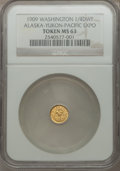 Alaska Tokens, 1909 Alaska-Yukon-Pacific Exposition, 1/4 DWT, MS63 NGC. Gold. Hart's Coins of the West....