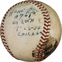1934 Babe Ruth Career Home Run #702 Baseball with Remarkable Provenance