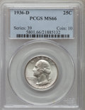 Washington Quarters: , 1936-D 25C MS66 PCGS. PCGS Population (122/13). NGC Census: (61/6).Mintage: 5,374,000. Numismedia Wsl. Price for problem f...
