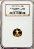 Modern Bullion Coins: , 1993-P G$5 Tenth-Ounce Gold Eagle PR70 Ultra Cameo NGC. NGC Census: (619). PCGS Population (207). Mintage: 58,649. Numismed...