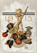 Illustration:Magazine, JOSEPH CHRISTIAN LEYENDECKER (American, 1874-1951). New Year'sBaby (Cleaning Up), The Saturday Evening Post cover, Janu...
