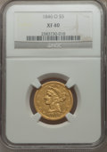 Liberty Half Eagles: , 1846-O $5 XF40 NGC. NGC Census: (11/119). PCGS Population (7/61). Mintage: 58,000. Numismedia Wsl. Price for problem free N...