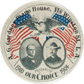 Political:Pinback Buttons (1896-present), McKinley & Roosevelt: One of the Best Jugate Designs for this1900 Republican Ticket, with Advertising for a Los Angeles Piano...