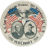 McKinley & Roosevelt: One of the Best Jugate Designs for this 1900 Republican Ticket, with Advertising for a Los Ang...