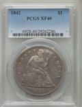 Seated Dollars: , 1842 $1 XF40 PCGS. PCGS Population (85/448). NGC Census: (40/431).Mintage: 184,618. Numismedia Wsl. Price for problem free...
