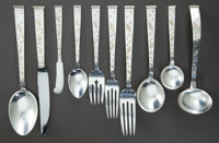 A ONE HUNDRED AND THIRTY-THREE PIECE JAPANESE SILVER AND SILVER GILT FLATWARE SERVICE, Miyata Silver, Japan, 20th cen