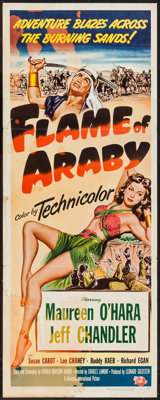 """Flame of Araby & Other Lot (Universal International, 1951). Insert (14"""" X 36"""") & Trimmed Window Card (..."""