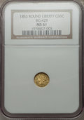 California Fractional Gold, 1853 G50C Liberty Round 50 Cents, BG-428, R.3, MS61 NGC. NGCCensus: (16/34). PCGS Population (31/115)....