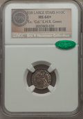"Seated Half Dimes, 1838 H10C Large Stars, MS64+ NGC. CAC. Ex: ""Col."" E.H.R. Green. NGC Census: (166/144). PCGS Population (101/77). Mintage: 2..."