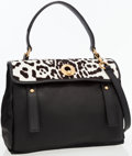 Art Glass:Daum, Yves Saint-Laurent Black Leather & Leopard Ponyhair Muse Two Bag . ...