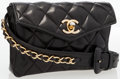 Luxury Accessories:Bags, Chanel Black Quilted Leather Waist Bag with Gold Hardware. ...
