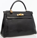 Luxury Accessories:Bags, Hermes 32cm Black Calf Box Leather Retoune Kelly Bag with GoldHardware. ...