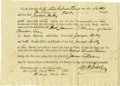 "Autographs:Statesmen, Declaration Signer Robert Treat Paine Partially Printed DocumentSigned, ""R T Paine,"", one page, 7.5"" x 5.5"", n.p. (like..."