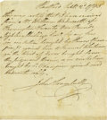 "Autographs:Artists, American Painter John Trumbull Autograph Document Signed, one page,7"" x 8', Hartford< Connecticut, September 2, 1795. ""Th..."