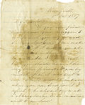 """Autographs:Statesmen, Sam Houston Autograph Letter Signed, two pages, 7.75"""" x 9.5"""", Huntsville, Texas, October 1, 1857, to Colonel Fanthorp, Ander..."""